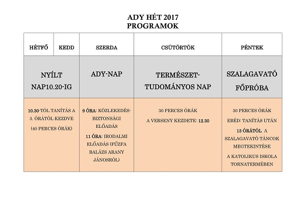 ady hét program